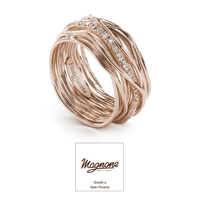 13 fili oro rosa 9 Kt e Diamanti ct 0.18 € 1.320,00